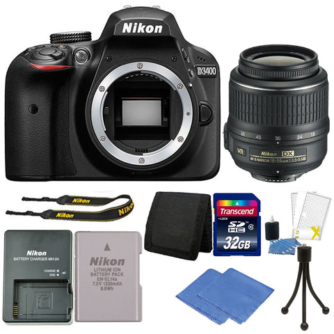 Nikon D3400 Digital SLR Camera with 18-55mm VR Lens and Accessory Kit