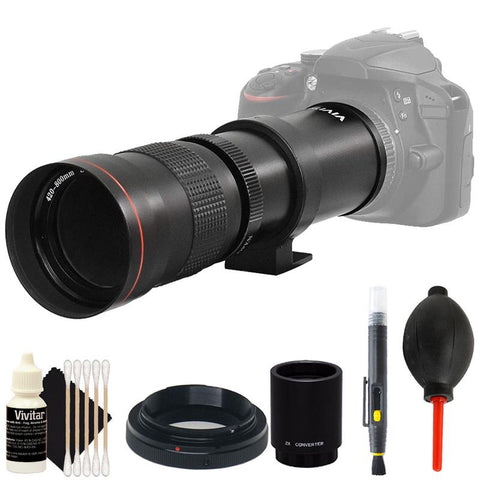 Vivitar 420-800mm f/8.3 Telephoto Zoom Lens with 2X Teleconverter (=1600mm) + Kit for Nikon DSLR Cameras