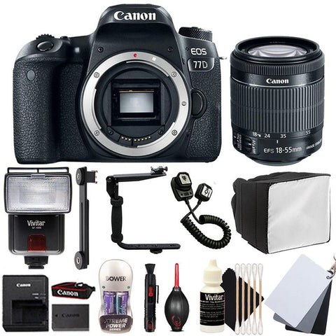 Canon EOS 77D DSLR Camera with 18-55mm IS STM Lens , Slave Flash and Accessory Kit