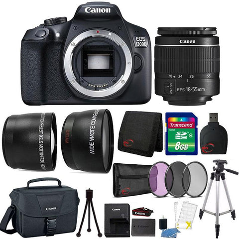 Canon EOS 1300D 18MP Built-In WIFI DSLR Camera with 18-55mm Lens , Canon 100ES Case and 8GB Ultimate Accessory Kit
