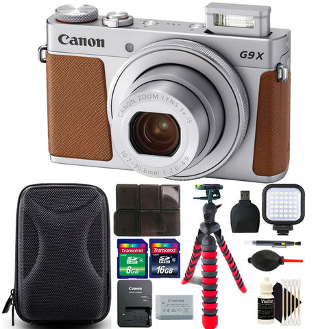 Canon Powershot G9 X II 20.1MP Digital Camera Silver with 1 inch Sensor and 3 inch LCD - Wifi, NFC, Bluetooth Enabled with Great Value Kit
