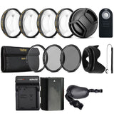 58mm Lens Accessory Kit with Replacement LP-E6 Battery and Charger for Canon DSLR Cameras