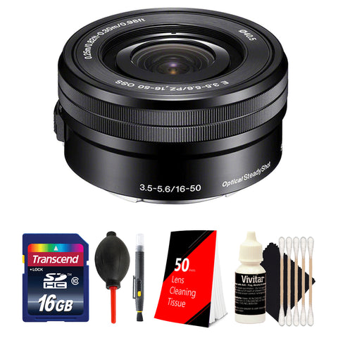 Sony E PZ 16-50mm f/3.5-5.6 OSS Lens with Top Accessory Bundle for Sony E-Mount Cameras