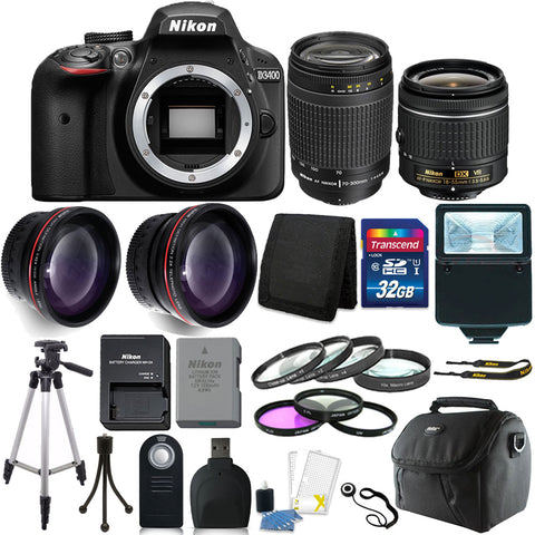 Nikon D3400 Digital SLR Camera with 18-55mm VR Lens , 70-300mm Lens and Accessory Kit