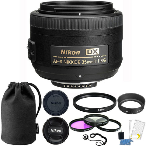 Nikon AF-S DX NIKKOR 35mm f/1.8G Lens with Accessory Kit for Nikon D5500 , D5600 , D7100 and D7200