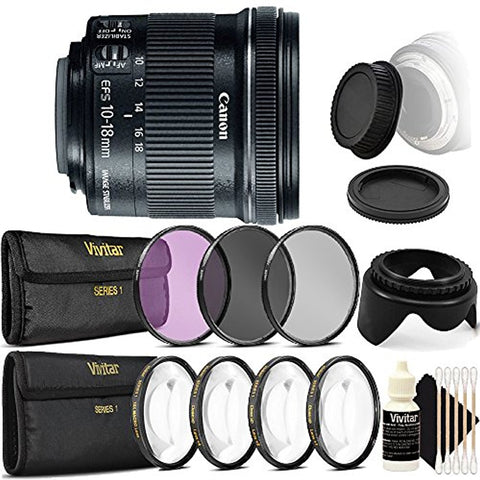 Canon EF-S 10-18mm f/4.5-5.6 IS STM Lens and Accessory Bundle For Canon DSLR Cameras