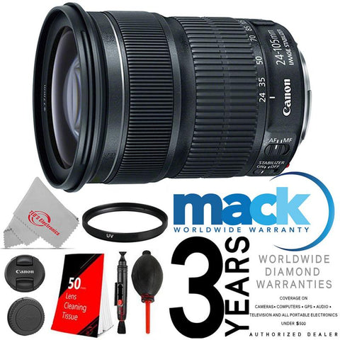 CANON EF 24-105mm f/3.5-5.6 IS STM Lens Accessory Kit + Mack Warranty