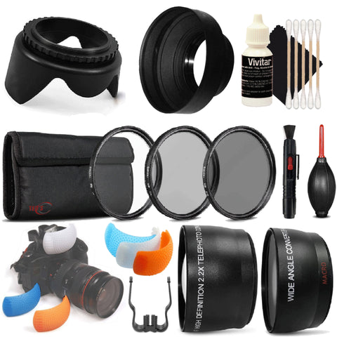 58mm Telephoto and Wide Angle Lens with Accessories for Canon EOS 80D and 1300D