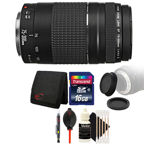 Canon EF 75-300mm f/4-5.6 III Telephoto Zoom Lens with Accessory Kit for Canon SLR Cameras