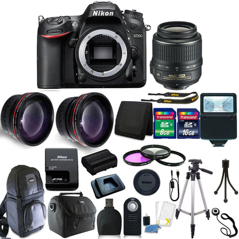 Nikon D7200 DSLR Camera with 18-55mm VR Lens and Accessory Kit