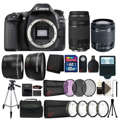 Canon EOS Rebel 80D 24.2MP Digital SLR Camera with 18-55mm Lens , 75-300mm Lens + Complete Filter Set Accessory Bundle