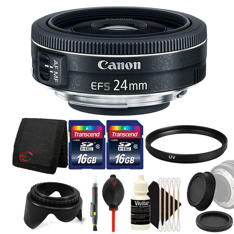 Canon EF-S 24mm f/2.8 STM Lens with Accessory Kit for Canon Digital SLR Cameras