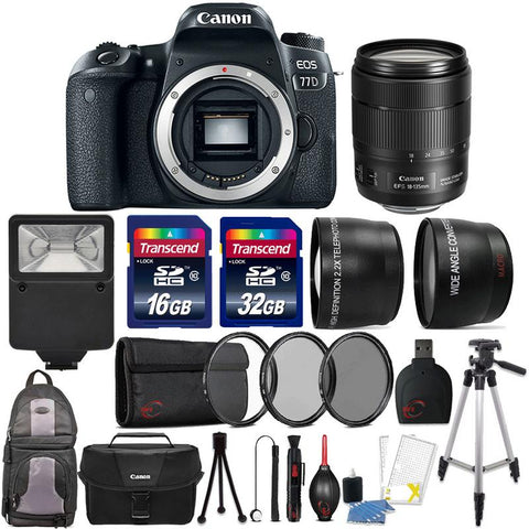 Canon EOS 77D 24.2MP DSLR Camera with 18-135mm USM Lens and Accessory Kit