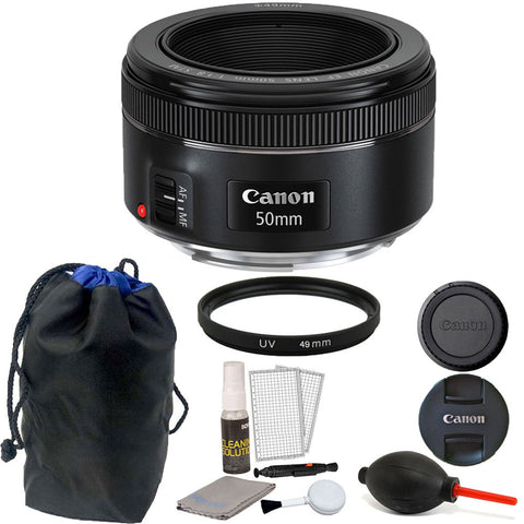 Canon EF 50mm f/1.8 STM Lens with Accessories for Canon DSLR Cameras