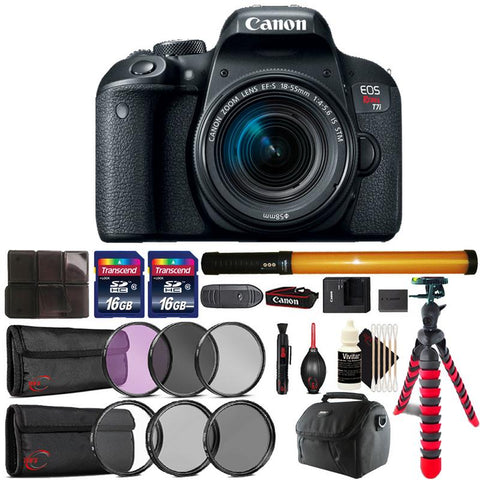 Canon EOS Rebel T7i 24.2MP DSLR Camera with 18-55mm IS STM Lens , 298 LED Light and Accessory Bundle