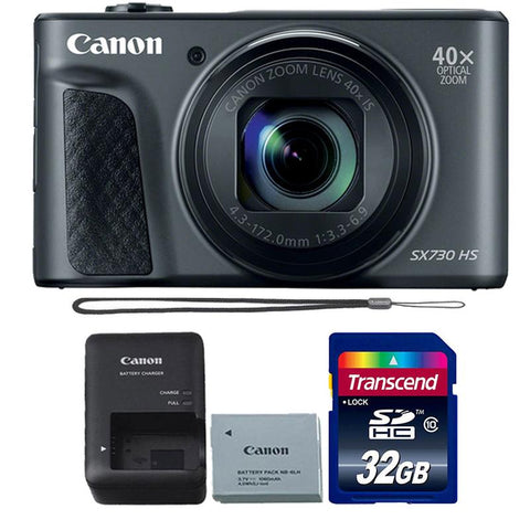 Canon Powershot SX730 HS 20.3MP Digital Camera (Black) with 32GB Memory Card