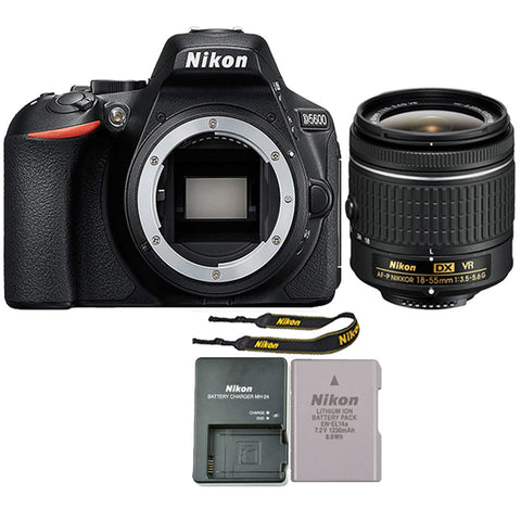 Nikon D5600 24.2MP Digital SLR Camera with 18-55mm f/3.5 - 5.6G VR AF-P DX Nikkor Lens