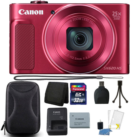 Canon PowerShot SX620 HS 20.2MP Compact Digital Camera Red with Accessories