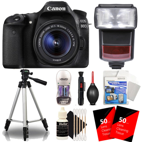 Canon EOS 80D 24.2MP Digtal SLR Camera with 18-55mm IS STM Lens , TTL Speedlite Flash and Ultimate Accessory Kit