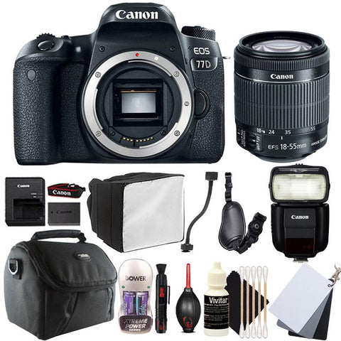 Canon EOS 77D DSLR Camera with 18-55mm IS STM Lens , 430EX lll Non RT Flash and Accessory Bundle