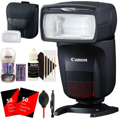 Canon Speedlite 470EX-AI Hot-Shoe Flash with Auto Intelligent Bounce Function + Battery & Charger + Top Cleaning Kit