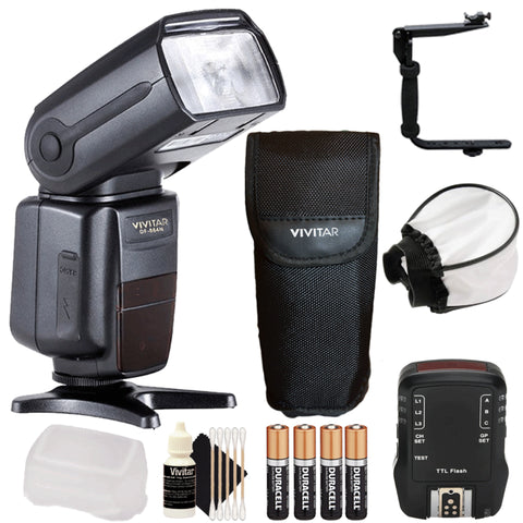 Vivitar DF-864 DSLR Speedlight Flash with Flash Trigger and More For Nikon DSLR Cameras