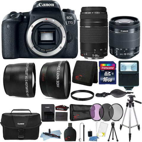 Canon EOS 77D 24.2MP Built-In WIFI DSLR Camera 18-55mm , 75-300mm , Canon 100ES Case and 16GB Accessory Bundle