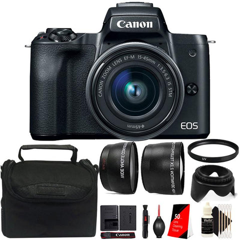 Canon EOS M50 Mirrorless Digital Camera with 15-45mm STM Lens and Deluxe Accessory Kit - Black