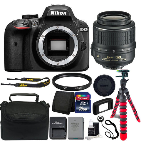 Nikon D3400 DSLR Camera with 18-55mm Lens and Top Value Kit