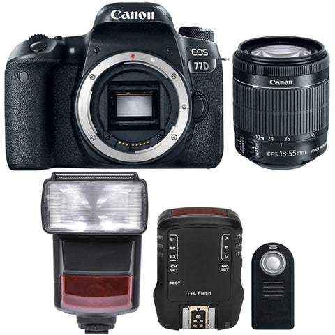 Canon EOS 77D 24.2MP Digtal SLR Camera with 18-55mm IS STM Lens , TTL Speedlite Flash and Accessory Kit