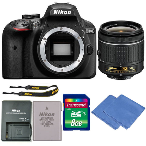 Nikon D3400 Digital SLR Camera with 18-55mm VR Lens and Accessory Bundle