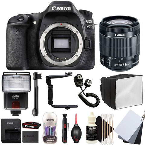 Canon EOS 80D 24.2MP DSLR Camera with 18-55mm Lens , Slave Flash and Accessory Kit