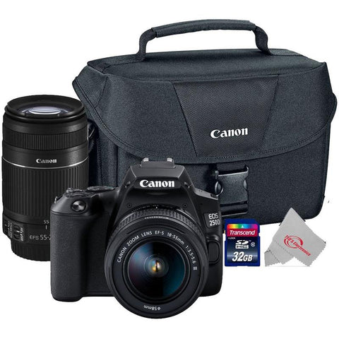 Canon EOS 250D Rebel SL3 24.1MP Digital SLR Camera + Canon 18-55mm + 55-250 IS II Complete Basic Lens  Kit