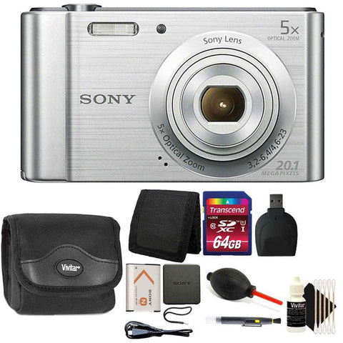 Sony Cyber-shot DSC-W800 20.1MP Digital Camera Silver with Accessories
