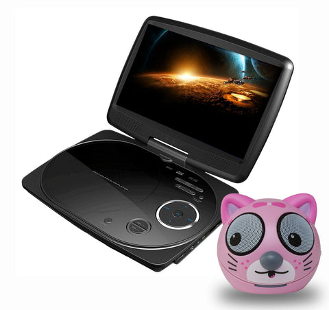 Impecca 9 inch DVD Player Black with Kitten Speaker