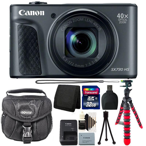 Canon Powershot SX730 HS Digital Camera (Black) with 32GB Accessory Kit