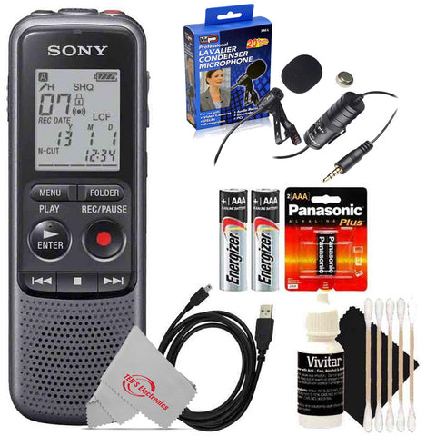 Sony Digital Voice Recorder ICD-PX Series, Built-in Mic, USB, 4GB Memory, Noise Cut for Noise-Free Recording + Lavalier Lapel Microphone Bundle
