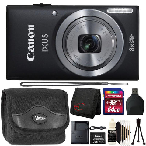 Canon IXUS 185 / ELPH 180 20MP Digital Camera Black with 8GB Accessory Bundle