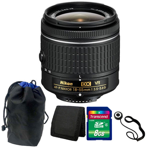 Nikon 18-55mm f/3.5 - 5.6G VR AF-P DX Lens for Nikon D5300 8GB Accessory Kit