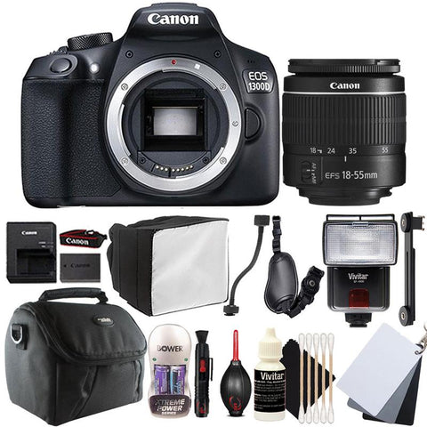 Canon EOS 1300D / Rebel T6 DSLR Camera with 18-55mm Lens , Slave Flash and Accessory Kit