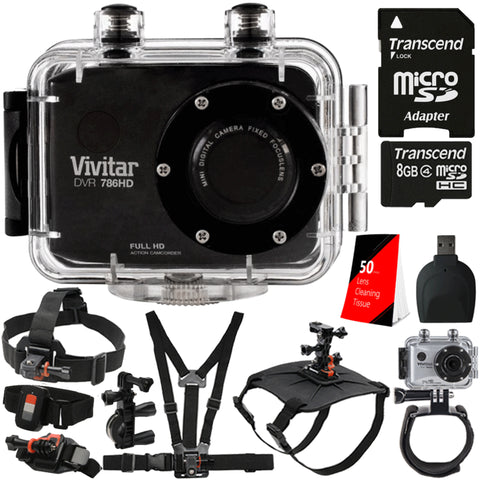 Vivitar DVR786HD 1080p HD Waterproof Action Video Camera Black with 8GB Accessory Bundle
