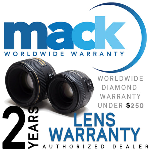 Mack 2yr Worldwide Diamond Warranty for Cameras and Lenses Under $250