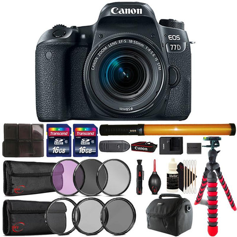 Canon EOS 77D 24.2MP DSLR Camera with 18-55mm IS STM Lens , 298 LED Video Light and Accessories