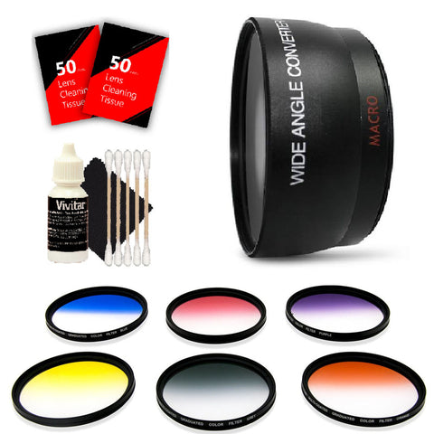 58mm Color Filter Kit, 58mm Wide Angle Lens and Accessories for Canon DSLR Cameras