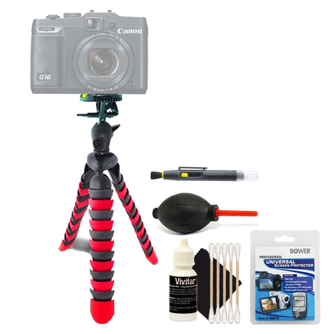 Flexible Tripod with Cleaning Kit For Canon Cameras