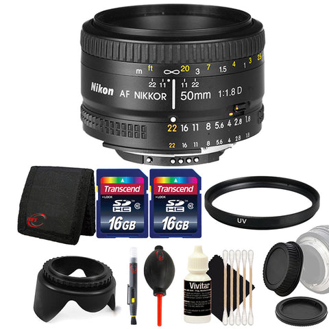 Nikon AF NIKKOR 50mm f/1.8D Lens for Nikon DSLR Cameras and Accessory Bundle