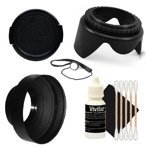 Vivitar 58mm  Tulip Lens Hood, Collapsible 3 function Rubber Lens Hood and More For Canon T6i