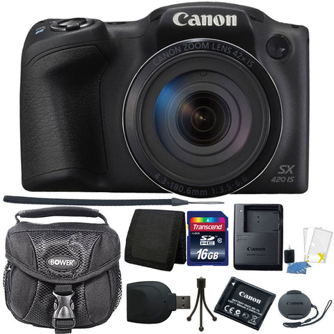 Canon PowerShot SX420 IS HD Wi-Fi 20MP Digital Camera with Accessory Bundle