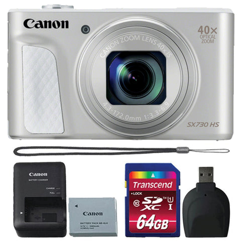 Canon Powershot SX730 HS 20.3MP Digital Camera Silver with 8GB Memory Card