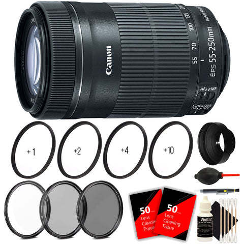 Canon EF-S 55-250mm F4-5.6 IS STM Lens with Accessory Kit for Canon T5i , T6 , T6i and T7i